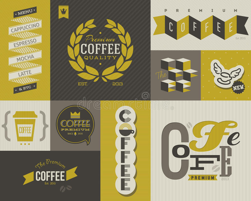 Etichette e distintivi del caffè. Insieme degli elementi di disegno di vettore. illustrazione vettoriale