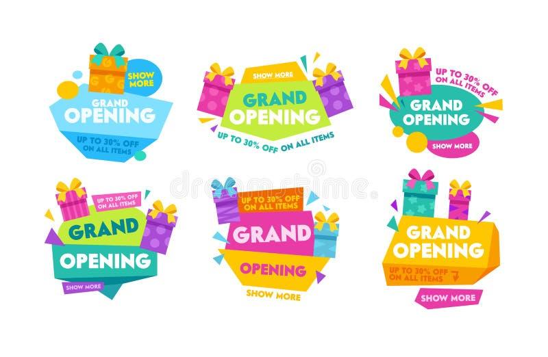 Etichette e distintivi di grande apertura messi con tipografia variopinta, i contenitori di regalo del fumetto e le forme geometr illustrazione di stock