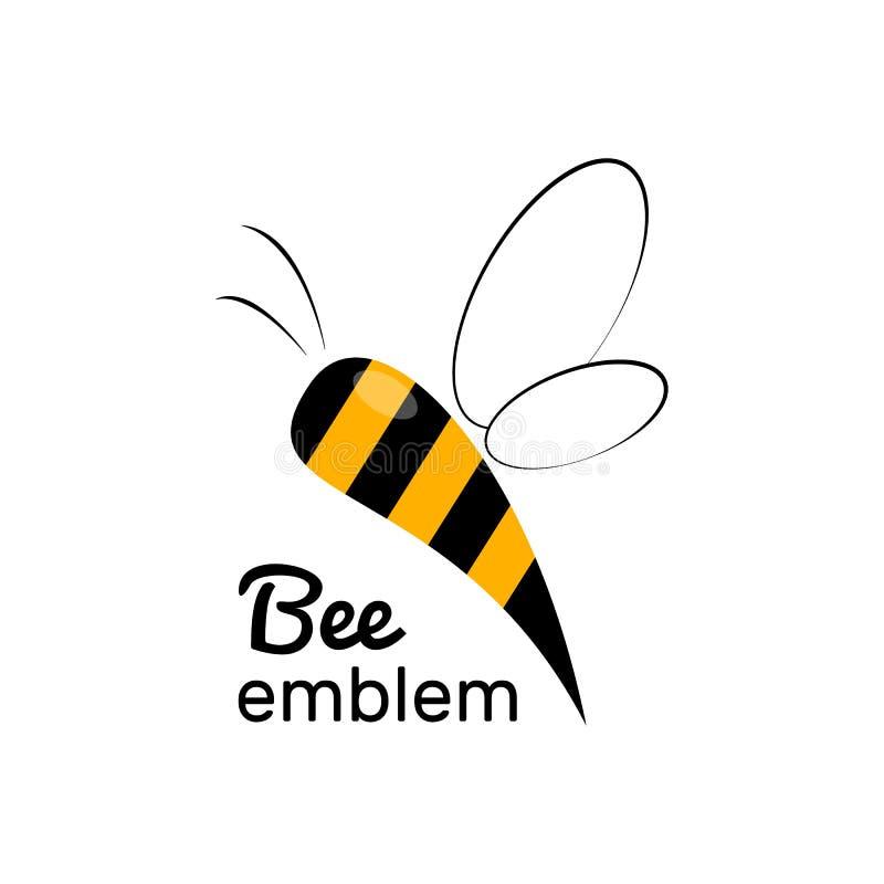 Etichette e logo del miele Dolce, insetto e cellula, favo e cera d'api dell'alimento illustrazione di stock