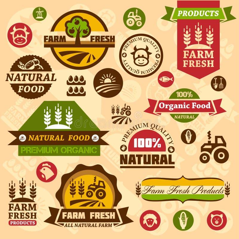 Etichette e progettazioni di logo dell'azienda agricola illustrazione di stock