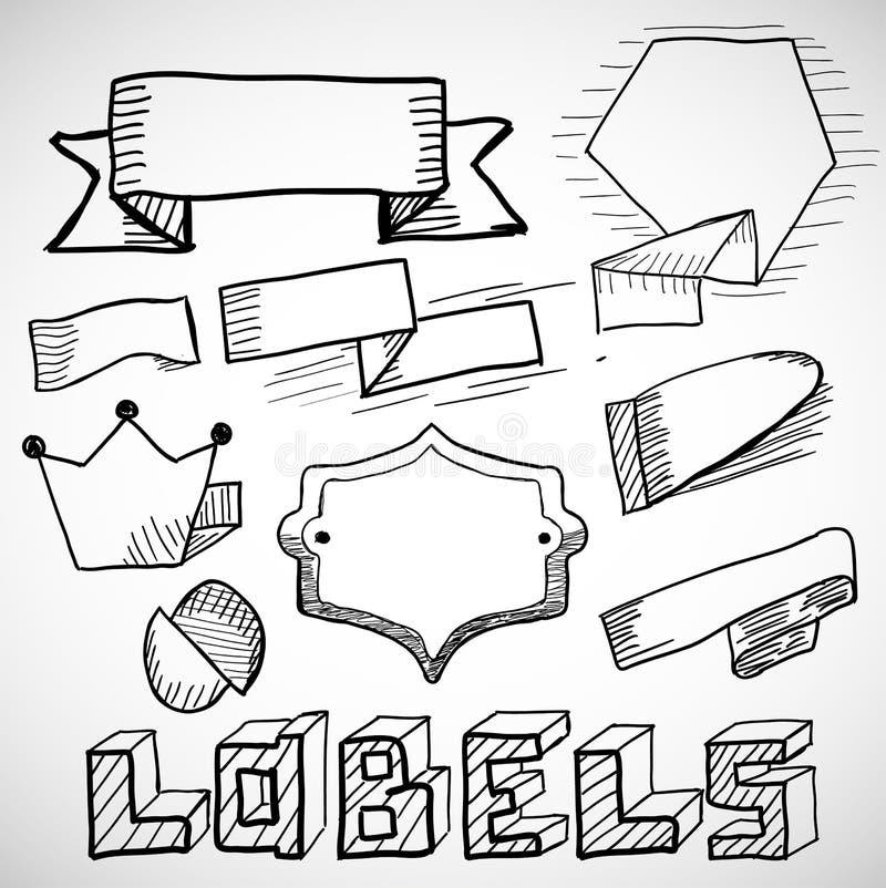 Etichette e scarabocchi disegnati a mano degli elementi di progettazione royalty illustrazione gratis