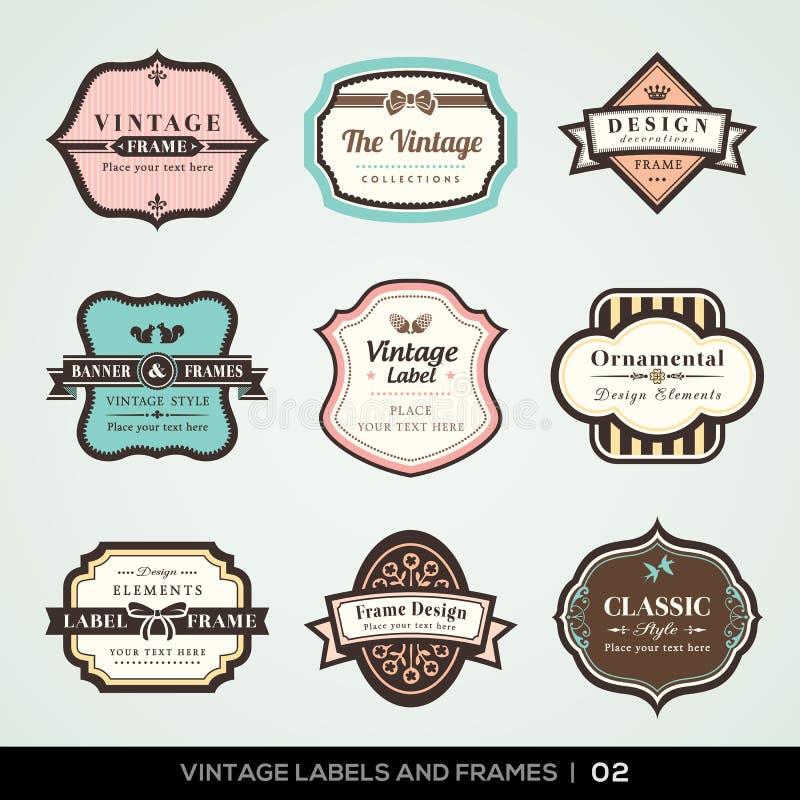 Etichette e strutture dell'annata illustrazione vettoriale