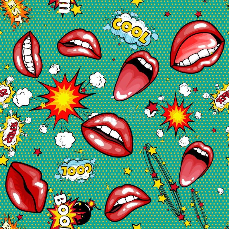 Etichette eccellenti comiche con testo, labbra rosse aperte sexy del fumetto del fumetto senza cuciture del modello con i denti,  royalty illustrazione gratis