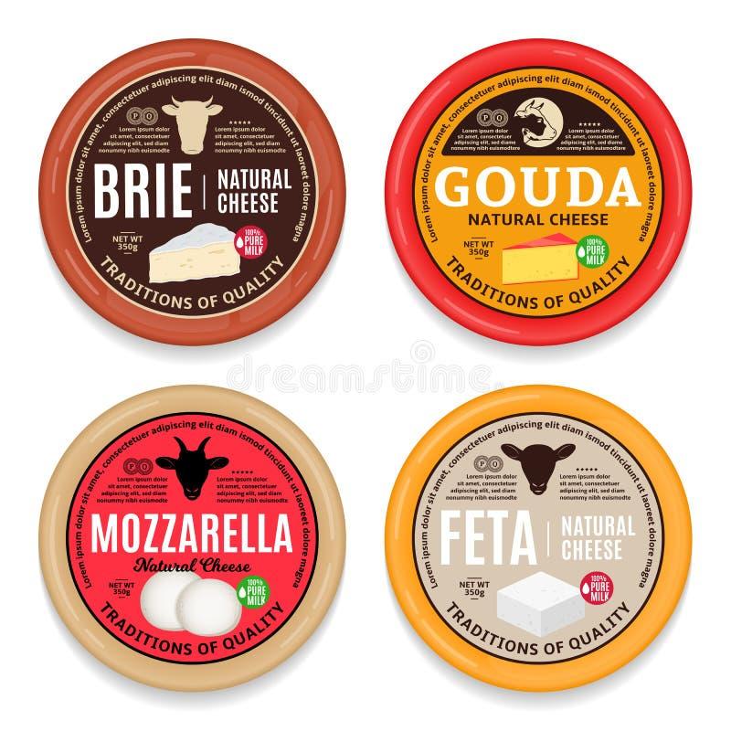 Etichette ed icone del giro del formaggio di vettore illustrazione di stock