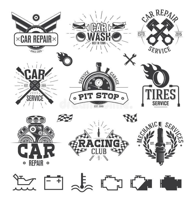 Etichette, emblemi e logos di servizio dell'automobile illustrazione vettoriale