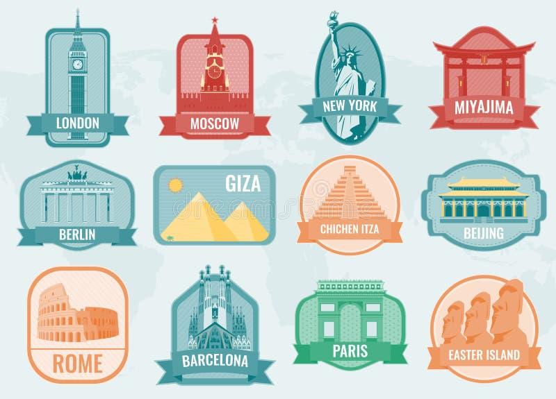 Etichette famose della raccolta dei punti di riferimento e dei monumenti Concetto di turismo e di corsa Vettore illustrazione vettoriale