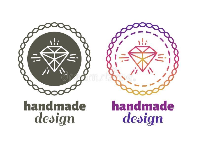 Etichette fatte a mano di progettazione - emblemi del mestiere della mano royalty illustrazione gratis