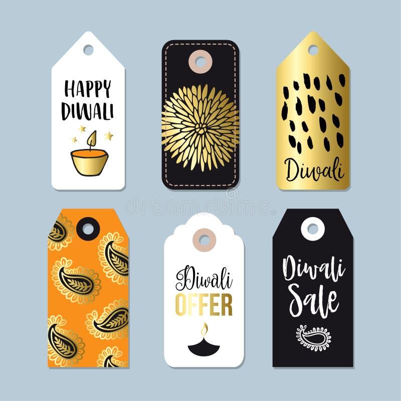 Etichette felici di vendita di offerta speciale di Diwali, etichette, autoadesivo Concetto di affari Festival delle luci indiano, royalty illustrazione gratis