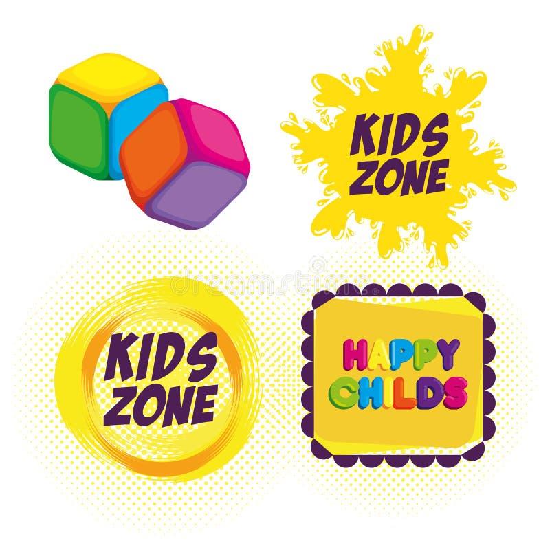 Etichette felici di zona dei bambini royalty illustrazione gratis