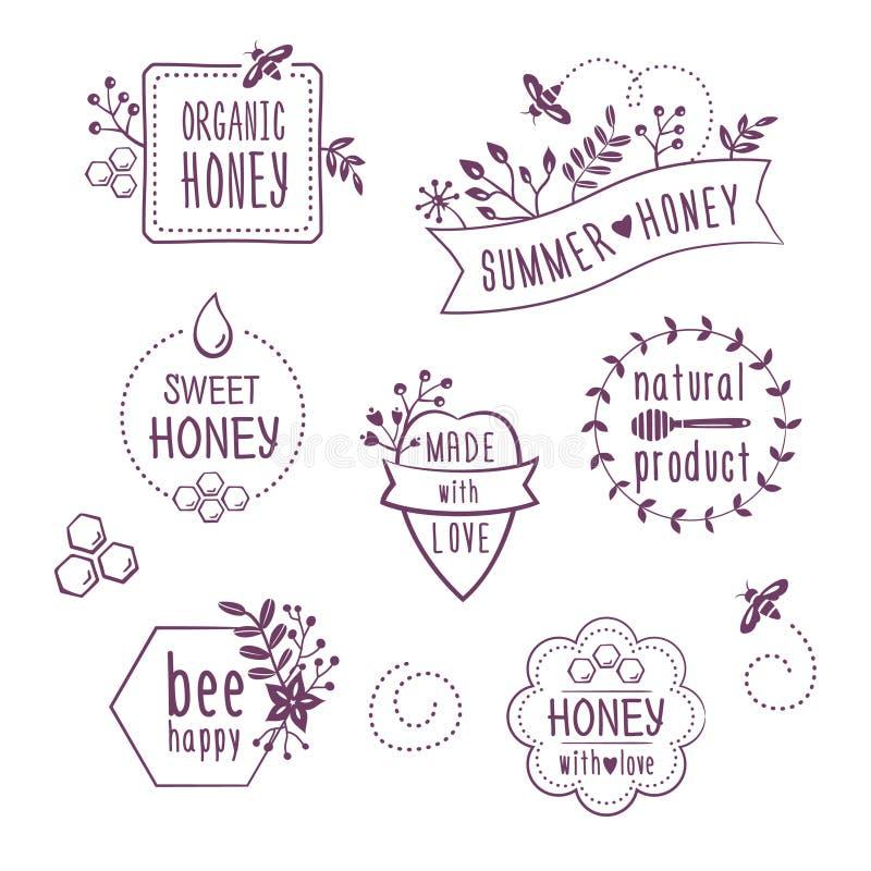 Etichette floreali del miele di estate, icone illustrazione vettoriale