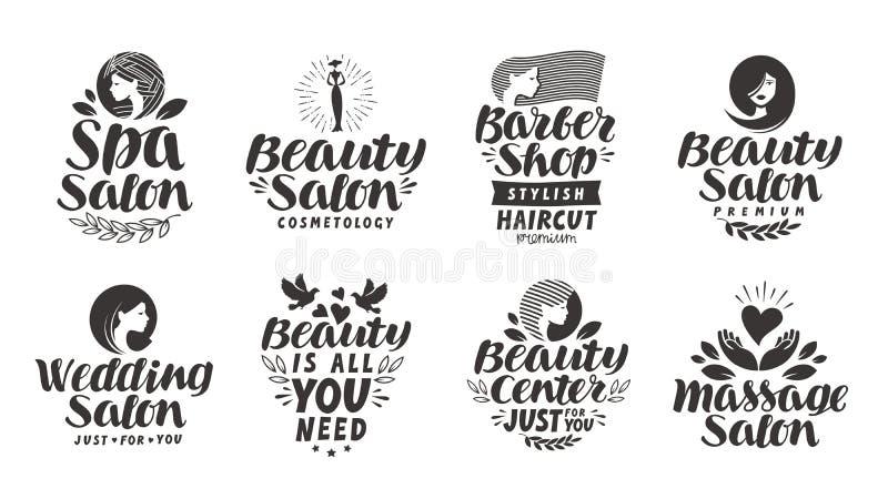 Etichette, logos ed icone stabiliti del salone di bellezza di vettore Stazione termale dell'iscrizione, negozio di barbiere, nozz illustrazione di stock