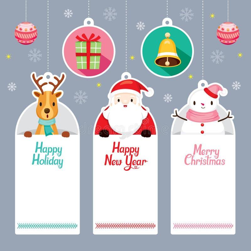 Etichette messe con Santa, renna, pupazzo di neve royalty illustrazione gratis