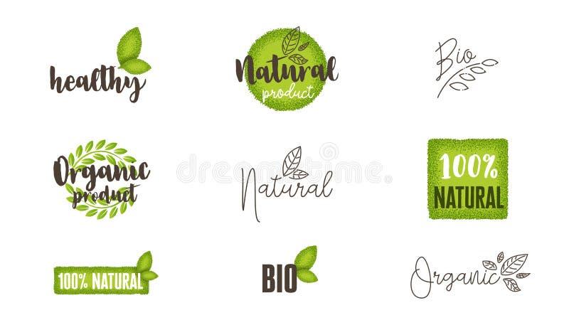 Etichette naturali, organiche, bio- dell'alimento e logos messi immagine stock libera da diritti