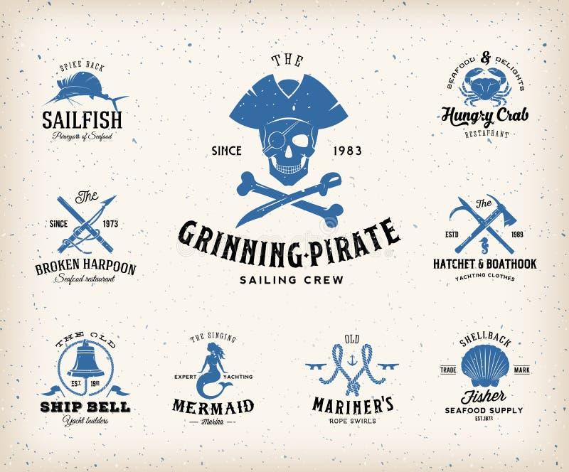 Etichette nautiche d'annata o elementi di progettazione con royalty illustrazione gratis