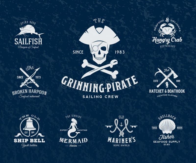 Etichette nautiche d'annata o elementi di progettazione con illustrazione vettoriale