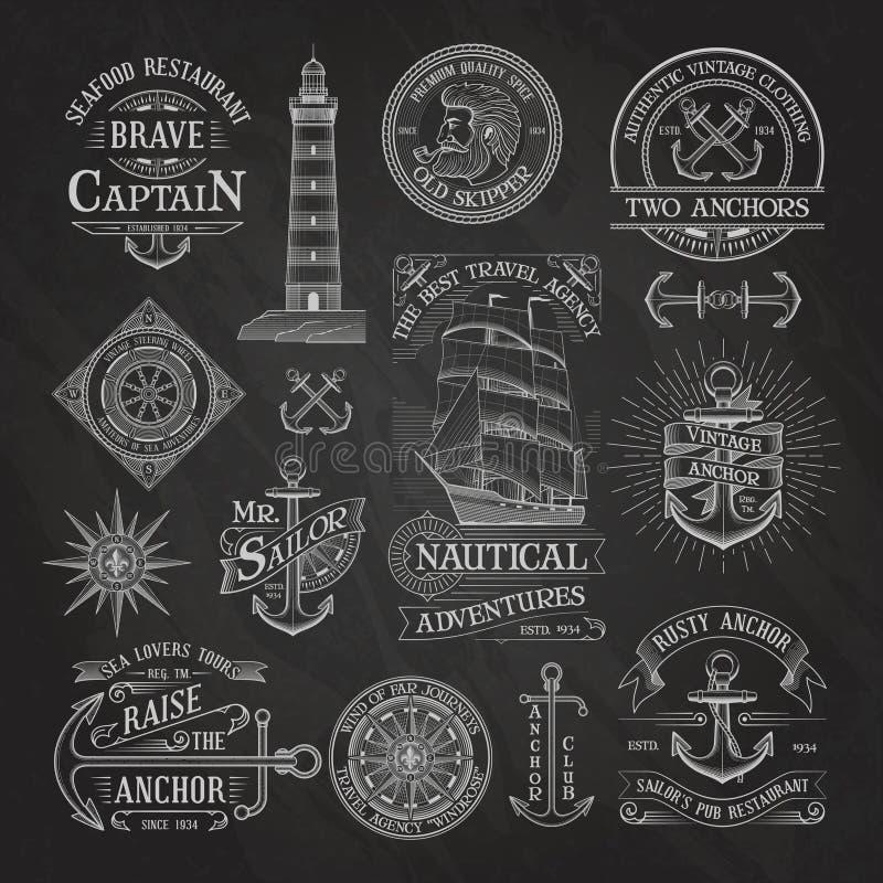 Etichette nautiche sul fondo della lavagna royalty illustrazione gratis