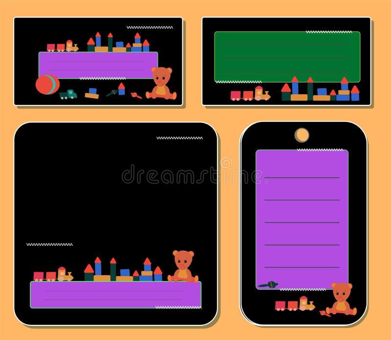 Etichette nere messe, con l'orsacchiotto ed i giocattoli per la nota del frame per il ragazzo e la ragazza royalty illustrazione gratis