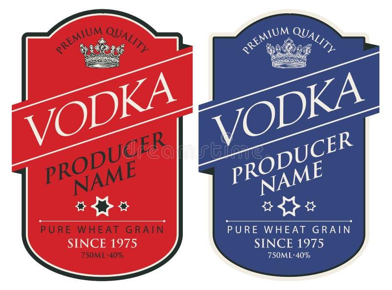 Etichette per vodka con le iscrizioni e la corona royalty illustrazione gratis
