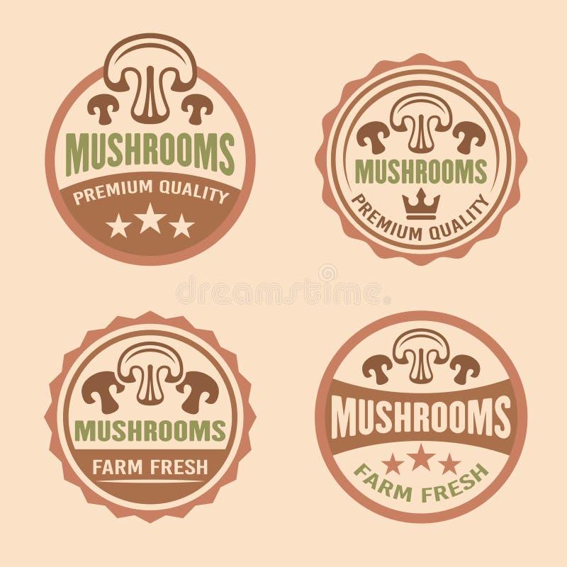 Etichette premio di vettore di qualità dei funghi, autoadesivi illustrazione di stock