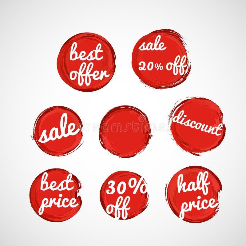 Etichette rosse di vendita di lerciume illustrazione di stock
