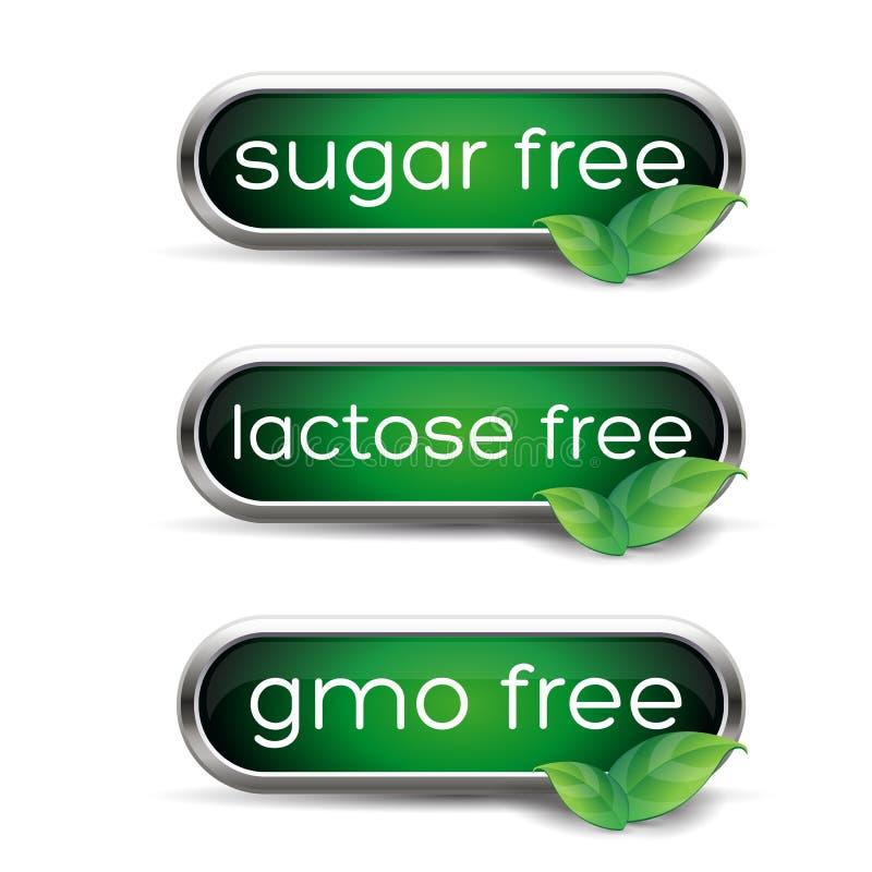 Etichette sane - lo zucchero, il lattosio ed il gmo liberano illustrazione di stock