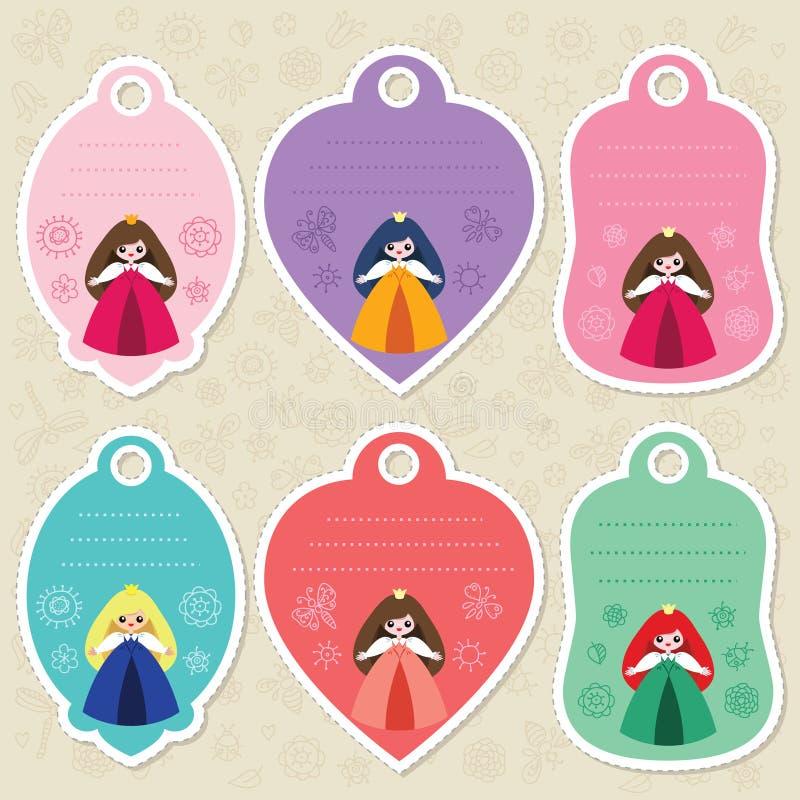 Etichette sveglie del regalo di principessa illustrazione di stock