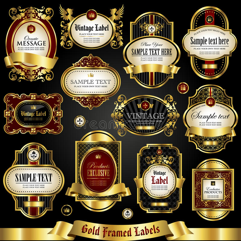 etichette variopinte D'oro incorniciate - insieme di vettore illustrazione vettoriale