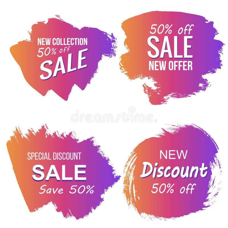 Etichette variopinte di sconto e di vendita di lerciume di vettore illustrazione vettoriale