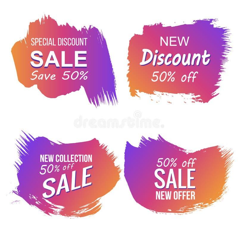 Etichette variopinte di sconto e di vendita di lerciume di vettore illustrazione di stock
