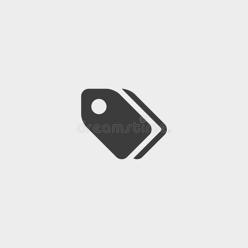 Etichetti l'icona in una progettazione piana nel colore nero Illustrazione EPS10 di vettore illustrazione di stock