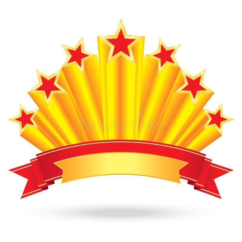 Etichetti le stelle d'oro brillanti del lusso di anniversario con l'aumento del nastro illustrazione di stock