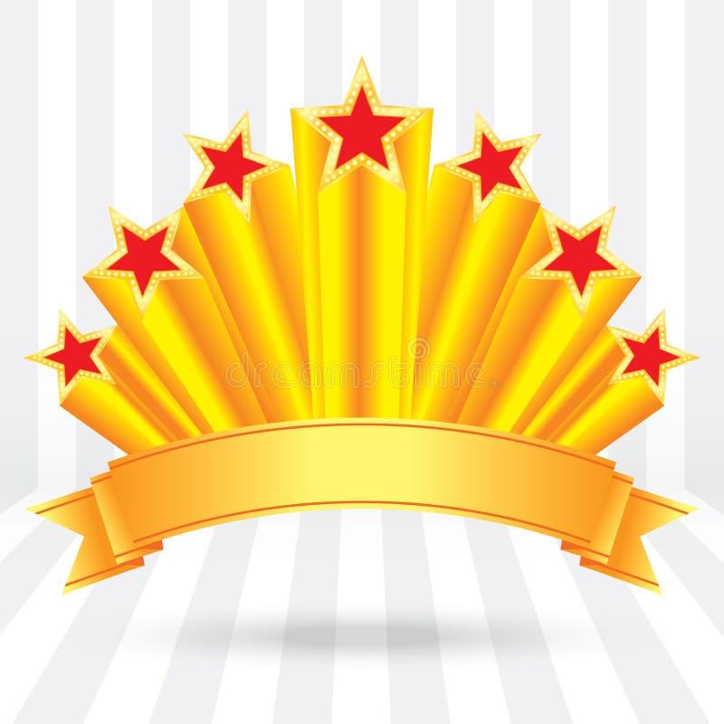Etichetti le stelle d'oro brillanti del lusso di anniversario con l'aumento del nastro royalty illustrazione gratis