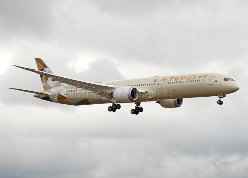 Etihad Airlines First production ready 787-10 dreamliner landing royalty free stock photo