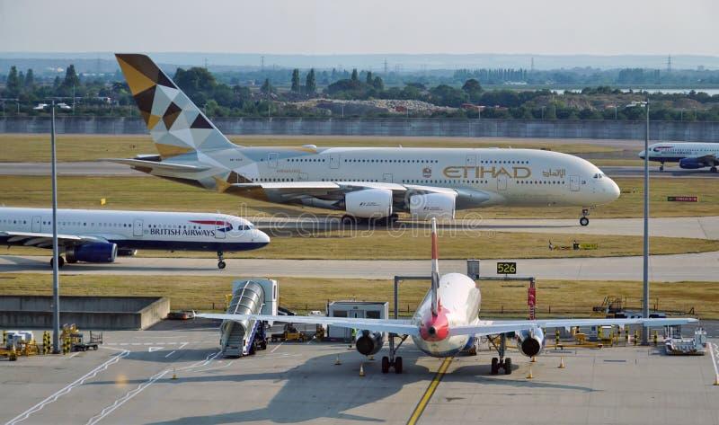 Etihad Airways (EY) Airbus A380 photos libres de droits