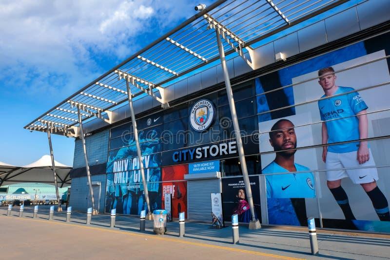 Etihad-Stadion, Heimspielstätte des Manchester City Fußball-Vereins in Großbritannien stockfotografie