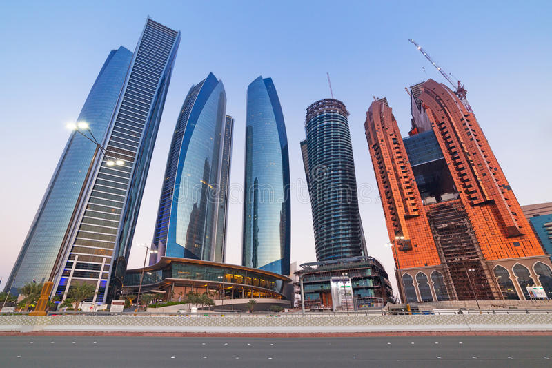 Etihad Towers Buildings In Abu Dhabi At Dusk Editorial Stock Image