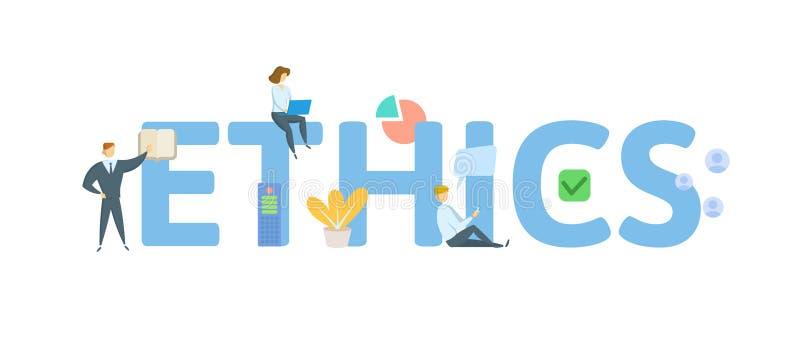 etik Begrepp med folk, bokstäver och symboler Plan vektorillustration bakgrund isolerad white vektor illustrationer