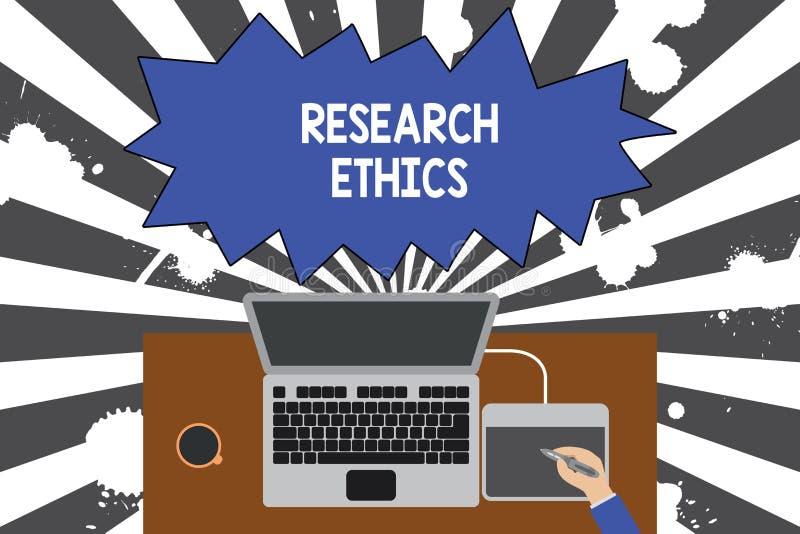 Etik f?r forskning f?r handskrifttexthandstil Begreppsbetydelse som intresseras i analysofethicalissuesna som lyftte övre stock illustrationer
