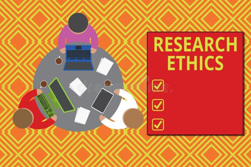 Etik f?r forskning f?r textteckenvisning Begreppsmässigt foto som intresseras i analysofethicalissuesna som lyftte den arbetande  royaltyfri illustrationer