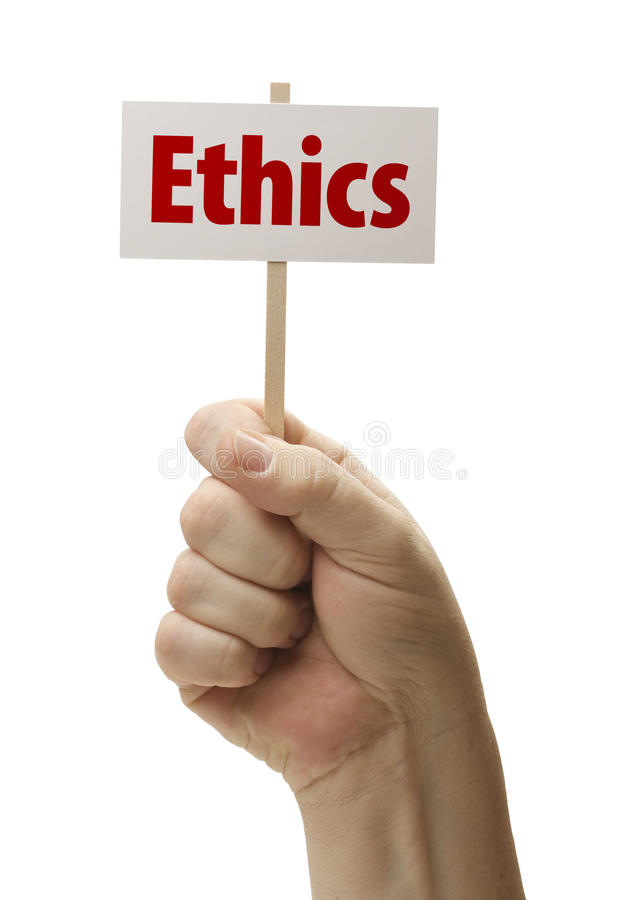 Etik undertecknar in näven på vit arkivfoto