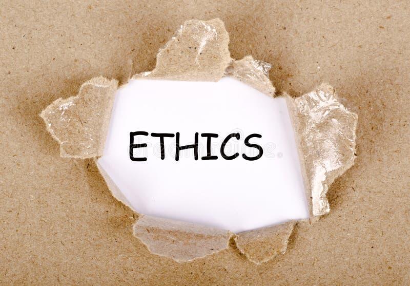 Etik uttrycker skriftligt på sönderrivet papper vektor illustrationer