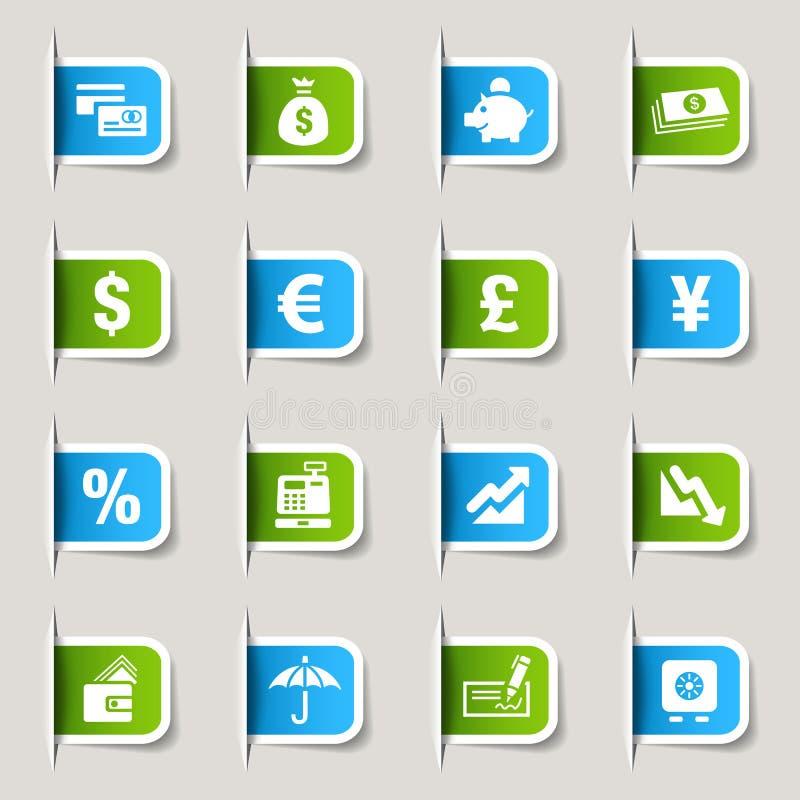 Etiket - de pictogrammen van Financiën stock illustratie