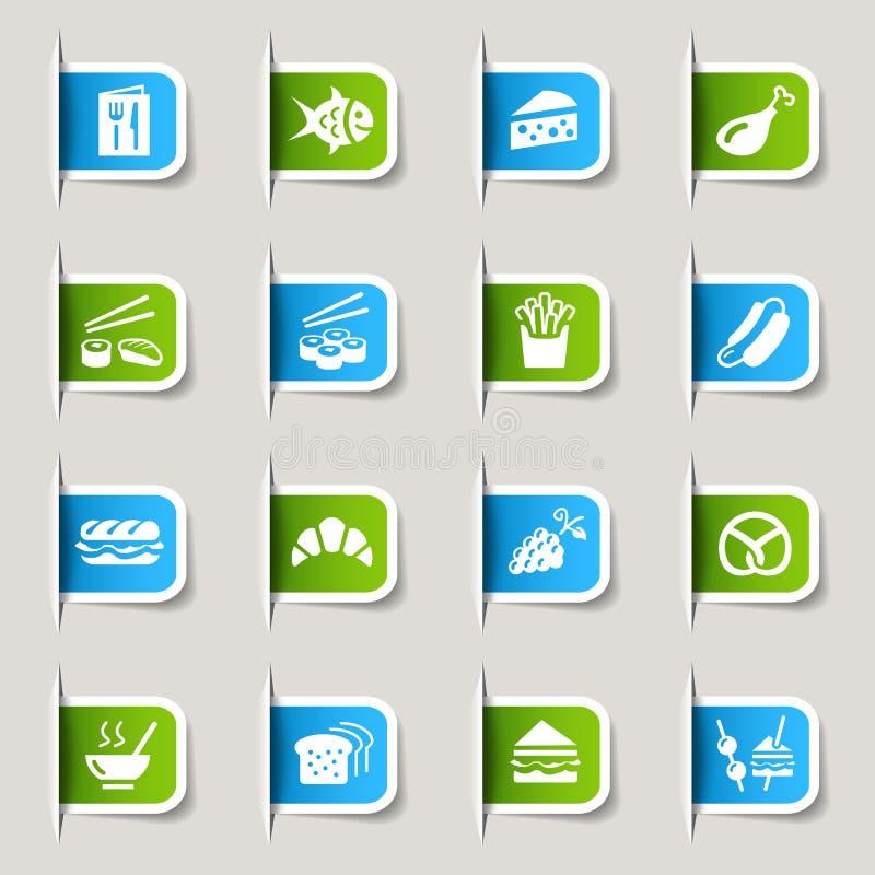 Etiket - de Pictogrammen van het Voedsel stock illustratie