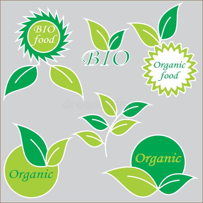 Etiket of embleem met biologisch product vector illustratie