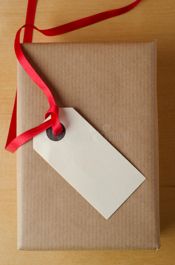 Etiket en Pakpapierpakket stock foto's
