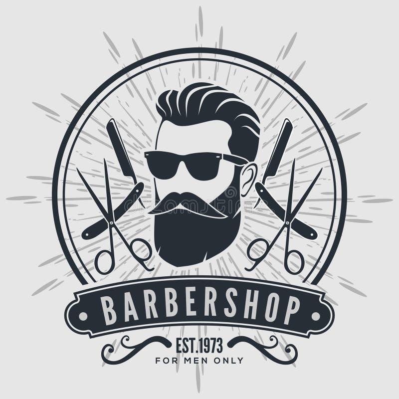 Etiket, het kenteken, of het embleem van de kapperswinkel het uitstekende op grijze achtergrond vector illustratie