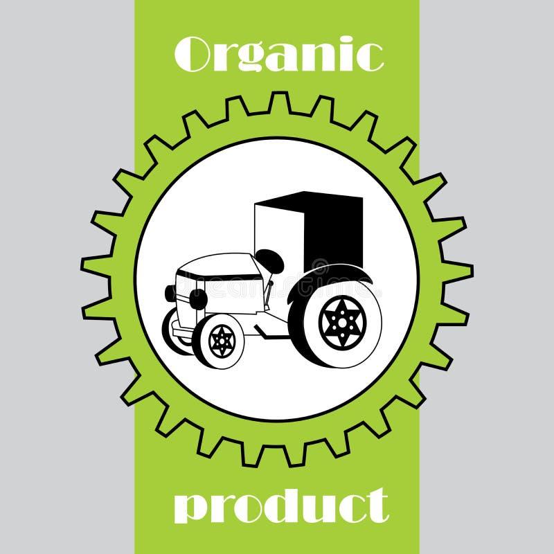 Etiket met biologisch product Tractor in toestel vector illustratie