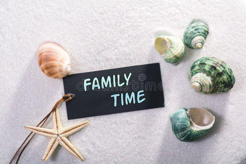 Etiket met familietijd stock foto