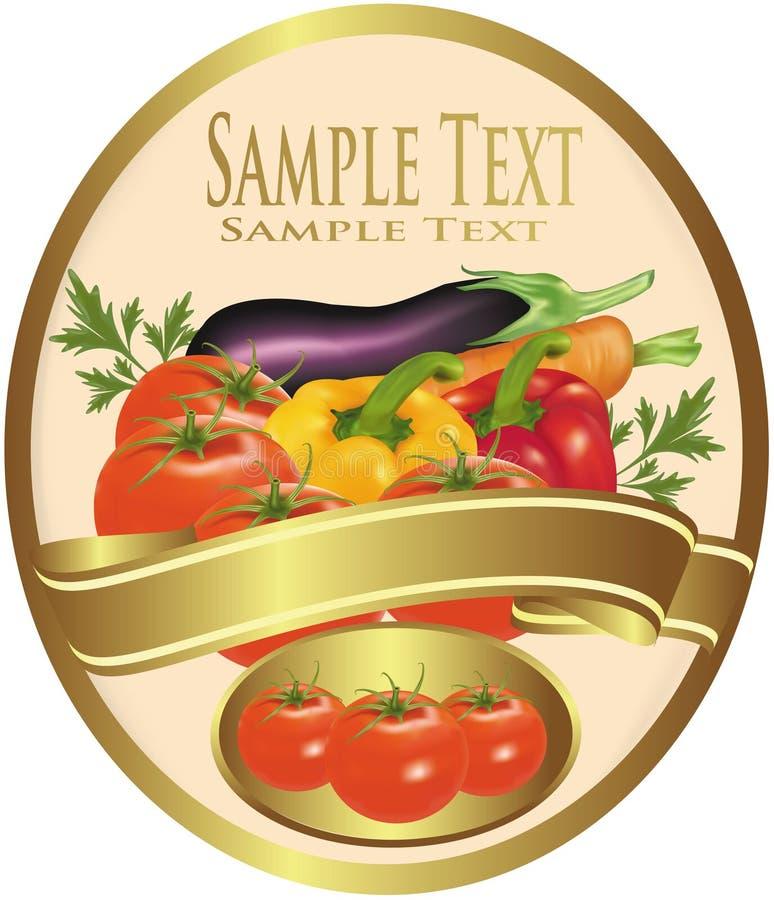 Etiket met groenten en peterselie. royalty-vrije illustratie