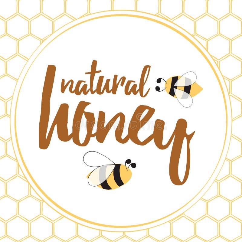 Etiket met hand getrokken die bij en honingraat op brght gele kleur wordt gemaakt vector illustratie